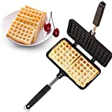 Stove Top Iron Waffle Maker,Deep Fill Non-Stick Plates Teflon Coating for Easy Clean 2 Slice Mini Waffle Baking Pan Bakeware for Snacks Breakfast