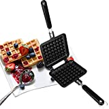 Stove Top Iron Waffle Maker,Deep Fill Non-Stick Plates Teflon Coating for Easy Clean Mini Waffle Baking Pan Bakeware for Snacks Breakfast