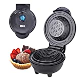 DASH DMWBM100GBBK04 Mini Waffle Maker for Breakfast, Burrito Bowls, Ice Cream and Other Sweet Deserts, Recipe Guide Included, Black