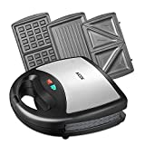 Aicok Sandwich Maker, Waffle Maker, Sandwich Grill, 750-Watts, 3-in-1 Detachable Non-stick Coating, LED Indicator Lights, Cool Touch Handle, Anti-Skid Feet, Black