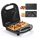 Sandwich Maker, Waffle Iron, Multifun 2-in-1 Waffle, Omelet and Turnover Maker with Non-stick Detachable Plates, LED Indicator Lights, Cool Touch Handle, Anti-Skid Feet, Easy to Clean - Black