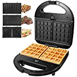 OSTBA Sandwich Maker 3-in-1 Waffle Iron, 750W Panini Press Grill with 3 Detachable Non-stick Plates, LED Indicator Lights, Cool Touch Handle, Easy to Clean