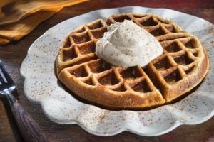 Bourbon whipped cream waffle topping